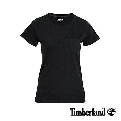 Timberland 女款黑色後下擺LOGO短袖T恤|B3507