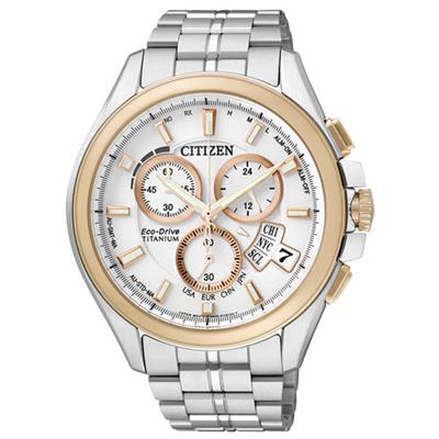 CITIZEN 王牌紳士光動能太金屬腕錶-玫瑰金白-45mm