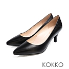 KOKKO - 日本同步尖頭拼接舒壓真皮高跟鞋 - 亮面黑