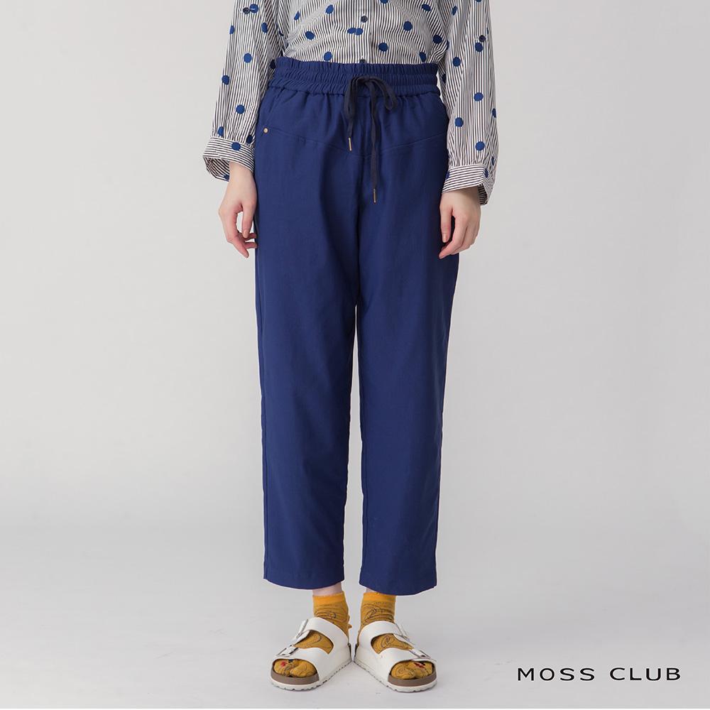 【MOSS CLUB】 寬褲口造型設計-長褲(藍色)