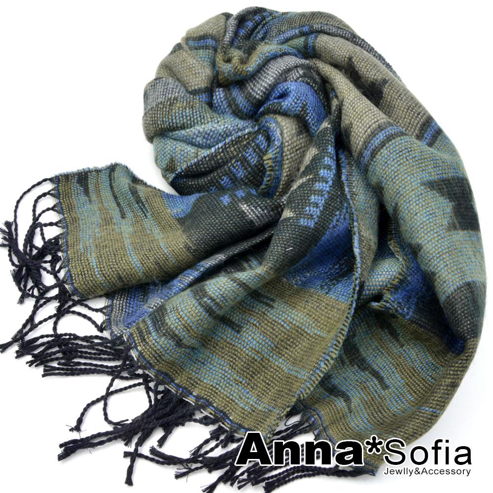 AnnaSofia 異國圖騰毛邊 流蘇長披肩圍巾(黑藍系)