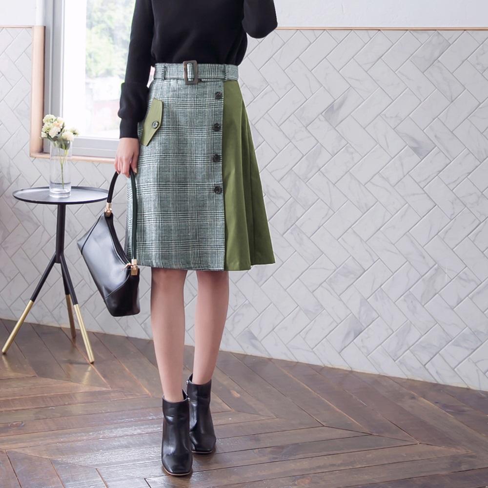 拼接格紋排扣假口袋設計中長裙-OB大尺碼