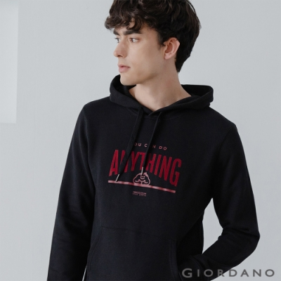 GIORDANO 男裝CHECKS連帽T恤 - 01 標誌黑