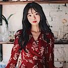 【AIRKOREA正韓空運】紅色花紋連衣裙