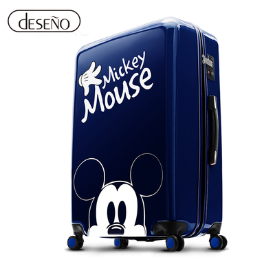 Disney 米奇奇幻之旅 20吋PC鏡面拉鍊行李箱-藍色