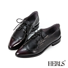 HERLS牛津鞋-全真皮翼紋沖孔尖頭德比鞋牛津鞋-酒紅色