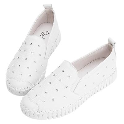 Robinlo & Co.青春甜美閃鑽牛皮休閒鞋 白