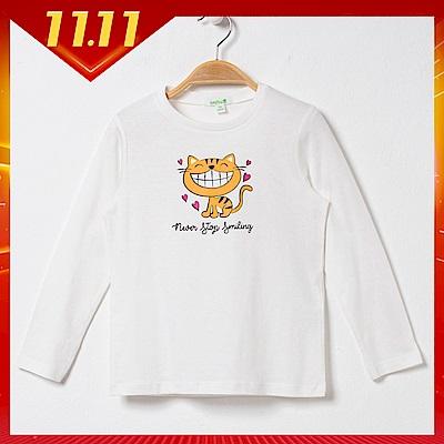 bossini女童-印花長袖T恤05灰白