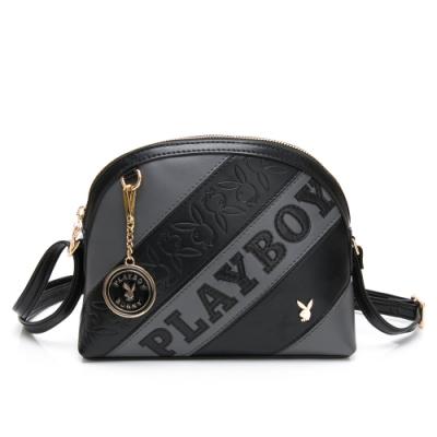 PLAYBOY-  貝殼斜背包 魅力拼接系列 -黑色