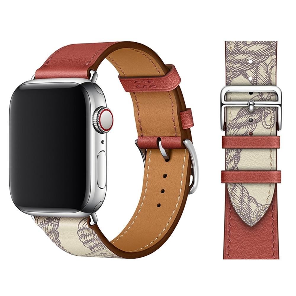 Apple Watch 1/2/3/4/5/6/SE 真皮質商務錶帶 撞款腕帶 product image 1