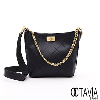 OCTAVIA 8 - 黃金1+1 菱格雙鍊帶肩斜水桶淑女肩包包 - 超級黑