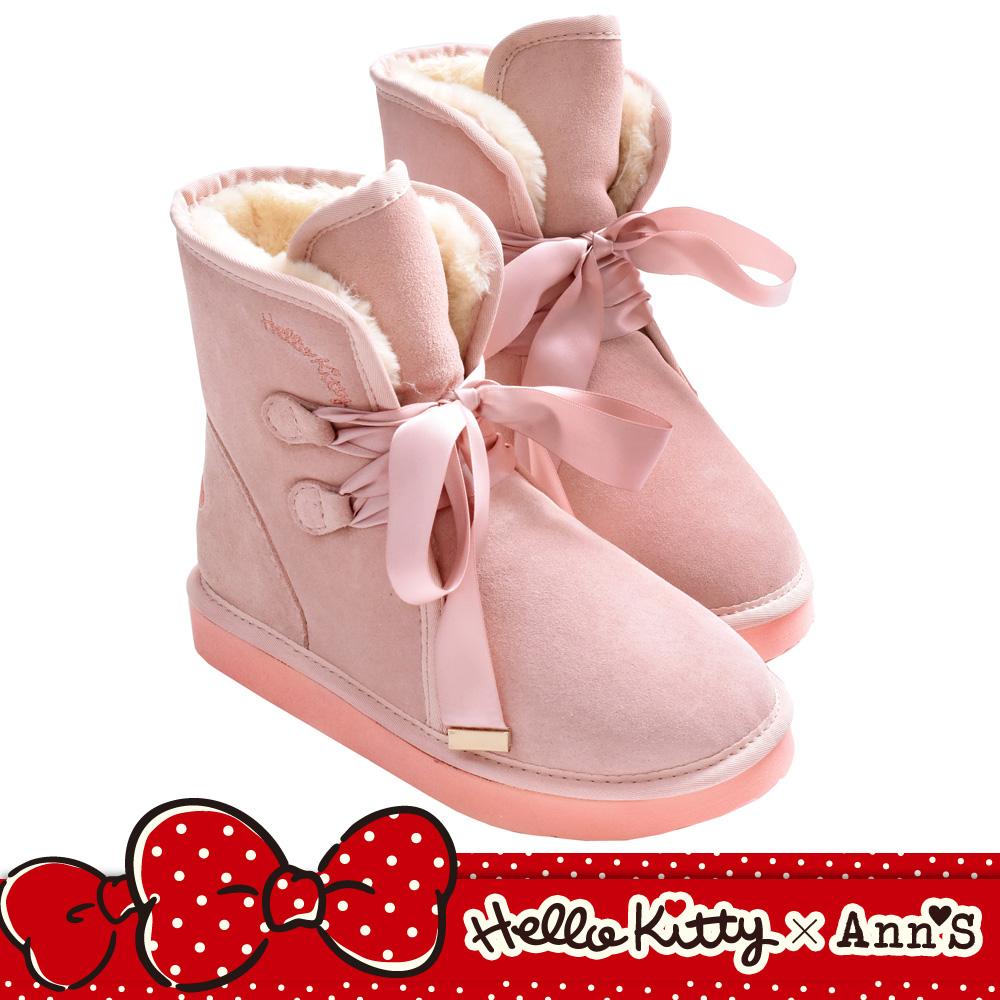 HELLO KITTY X Ann'S毛茸茸單色刺繡前綁緞帶蝴蝶結真皮雪靴-粉