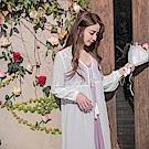 氣質蕾絲雕花流蘇綁帶雪紡開襟長版罩衫/外套-OB大尺碼