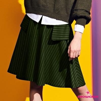 【SHOWCASE】學院風條紋方袋膝上圓裙-綠