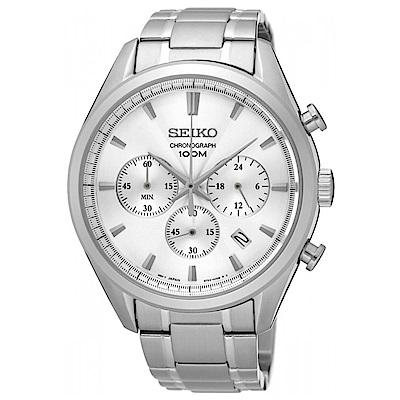 SEIKO 城市精英三眼計時石英腕錶(SSB221P1)-白x43mm
