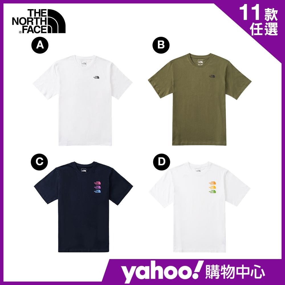 【The North Face】YAHOO人氣組合-夏季必備男女推薦款印花短袖T-SHIRT-5款任選