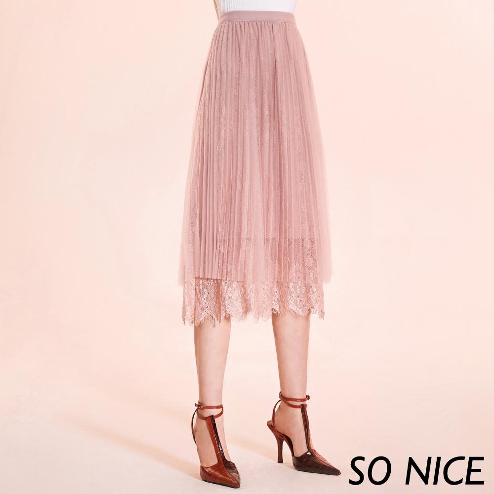 SO NICE優雅蕾絲壓褶網紗長裙