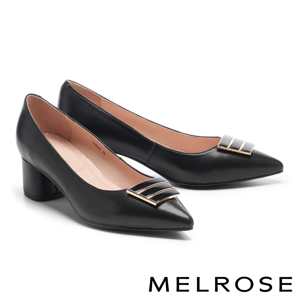 高跟鞋 MELROSE 典雅時尚梯形釦羊皮尖頭高跟鞋-黑