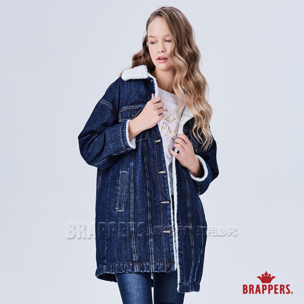 BRAPPERS 女款 寬版羊羔絨牛仔外套-藍