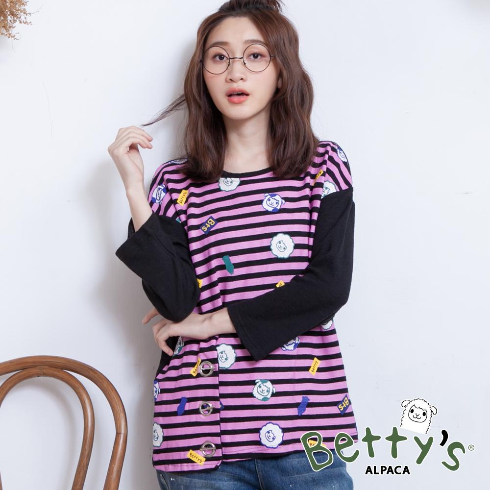 betty's貝蒂思 領口簍空設計條紋小貝羊印花上衣(黑色)