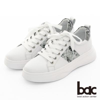 【bac】休閒享樂全真皮蛇紋綁帶厚底休閒鞋-白