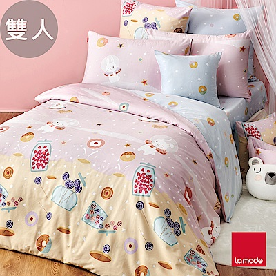 (活動)La Mode寢飾 甜心兔兔環保印染100%精梳棉兩用被床包組(雙人)