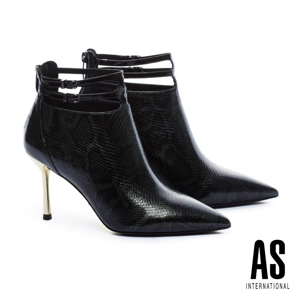 短靴 AS 摩登蛇紋雙繫帶造型全真皮金屬高跟短靴-蛇紋