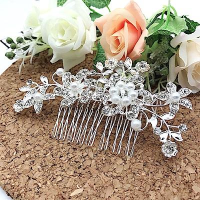 Hera 赫拉 水鑽珍珠奢華髮梳新娘髮飾(2款)