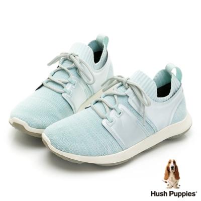 Hush Puppies Bounce Max控濕排汗超細纖維女休閒鞋-淺藍