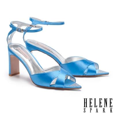 涼鞋 HELENE SPARK 清新耀眼交叉踝繫帶閃鑽尖頭美型高跟涼鞋-藍