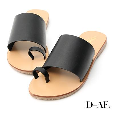 D+AF 個性搭配.寬版一字套指涼拖鞋*黑