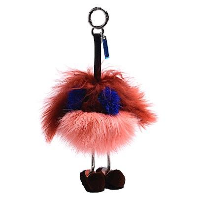 FENDI 經典dad bag charm系列多色皮草毛怪鑰匙圈/吊飾(褐X粉)