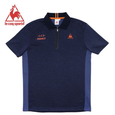 le coq sportif 膠條裝飾拉鍊吸濕排汗運動短袖POLO衫 男-丈青