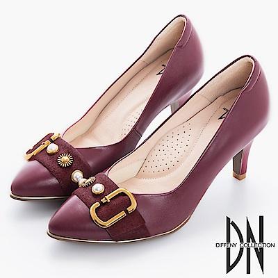 DN 時尚風範 MIT馬毛飾釦尖頭跟鞋-酒紅