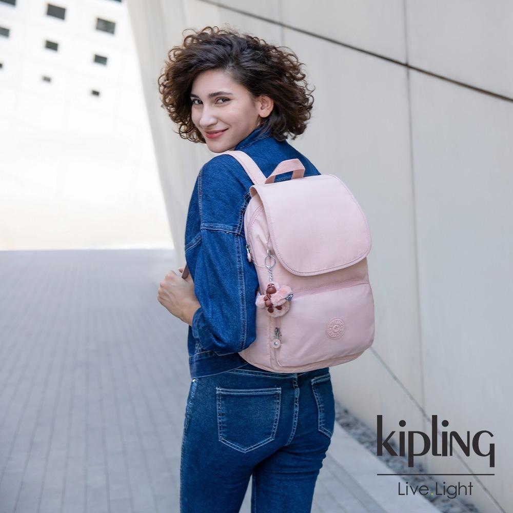 Kipling 氣質玫瑰粉掀蓋拉鍊後背包-CAYENNE