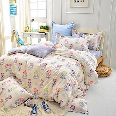 IN HOUSE-Mario s Flower-200織精梳棉-四件式薄被套床包組(雙人)