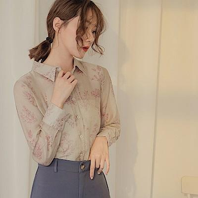 滿版素描線條印花微透膚長袖襯衫上衣-OB嚴選