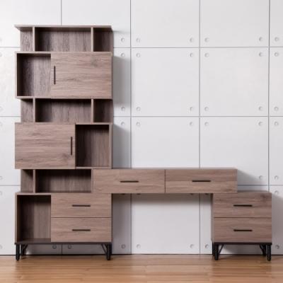 D&T德泰傢俱 BROOK淺胡桃木L型可調整書桌-218x41.5x196cm