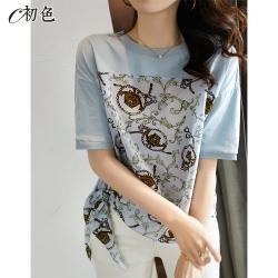 初色  時尚復古印花綁帶T恤-淺藍色-(M-2XL可選)