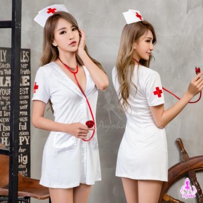 Ayoka 角色扮演 俏護士白色連身裙角色扮演服三件組-白F