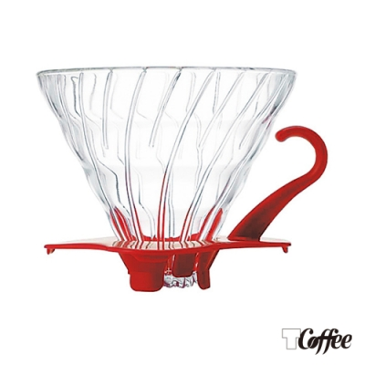 TCoffee HARIO-V60紅色02玻璃濾杯