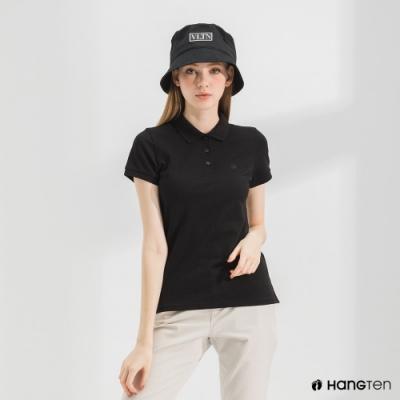 Hang Ten-女裝-腳丫短袖POLO衫-黑色