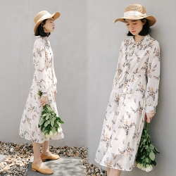 【韓國K.W.】(預購)時尚文藝復古清純法式雪紡洋裝-1色