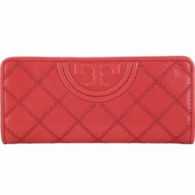 TORY BURCH Fleming 菱格縫線仿舊皮革對折釦式長夾(紅色)