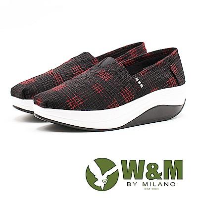 W&M BOUNCE編織風 厚底休閒女鞋-黑底紅格(另有籃底白格)