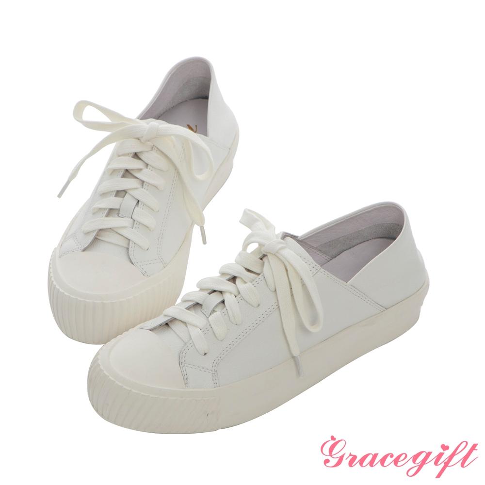 Grace gift X Nina-聯名全真皮2way餅乾休閒鞋 白