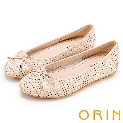 ORIN 時尚甜心 牛皮幾何三角沖孔平底娃娃鞋-粉色