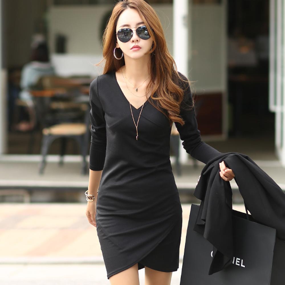 正韓 純色V領長袖交疊短裙洋裝 (黑色)-N.C21