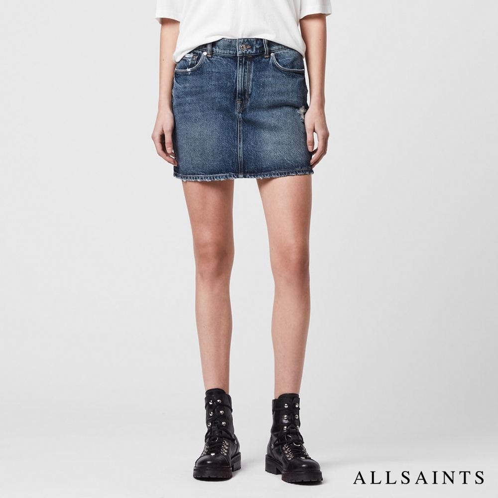 ALLSAINTS ARDEN 高腰修身棉質刷破牛仔短裙-深靛藍