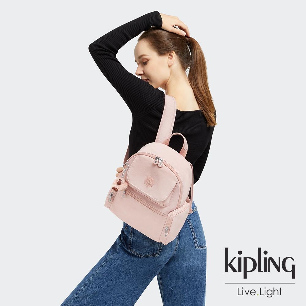 Kipling 甜美粉嫩色多口袋拉鍊後背包-MATTA